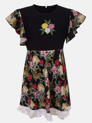 Black Printed and Embroidered Linen Frock