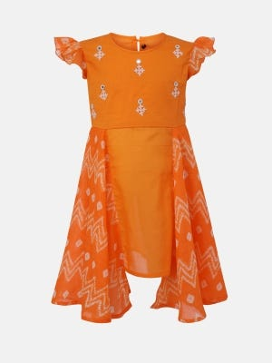 Orange Printed and Embroidered Mixed Cotton Frock