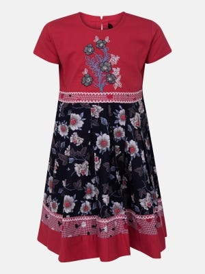 Watermelon Printed and Embroidered Cotton Frock
