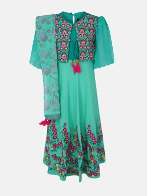 Mint Green Embroidered Linen Long Gown Set