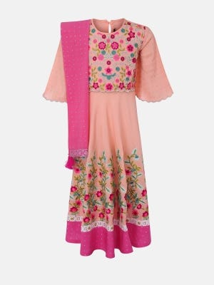 Peach Printed and Embroidered Linen Long Gown Set