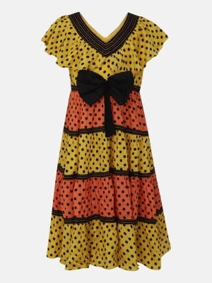 Yellow Printed and Embroidered Linen Frock