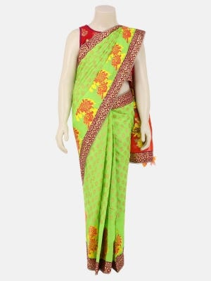 Parrot Green Printed Voile Saree
