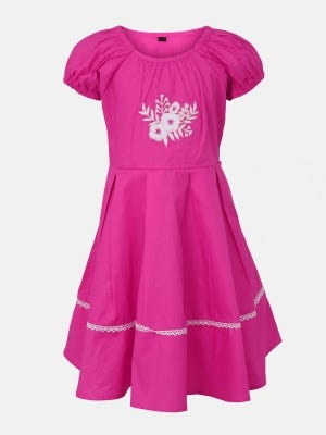 Deep Pink Embroidered Cotton Frock