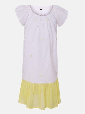 White Embroidered Mixed Cotton Frock