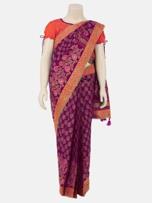 Purple Printed and Embroidered Voile Saree