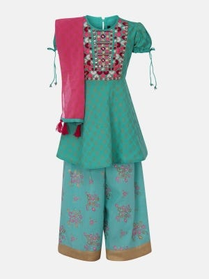 Turquoise Printed and Embroidered Linen Ghagra Choli Set
