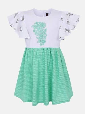 White Printed and Embroidered Cotton Frock