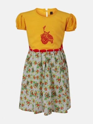 Marigold Printed and Embroidered Linen Frock