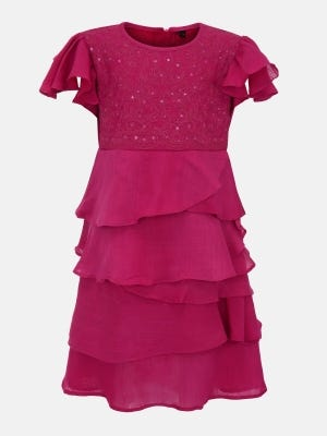 Magenta Embroidered Mixed Cotton Party Frock