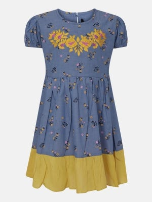 Light Blue Printed and Embroidered Cotton Frock