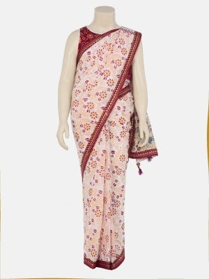 White Printed and Embroidered Voile Saree