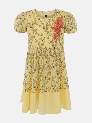 Yellow Printed and Embroidered Cotton Frock