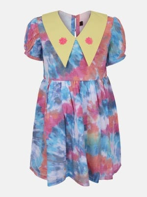 Multicolour Printed Mixed Cotton Frock