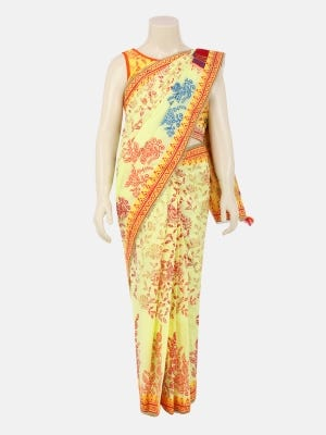 Lime Yellow Printed and Embroidered Voile Saree