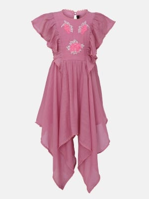 Light Mauve Embroidered Mixed Cotton Party Frock