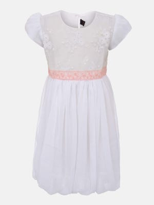 White Embroidered Mixed Georgette Party Frock
