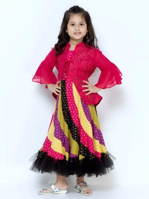 Fuchsia Printed and Embroidered Linen Long Gown
