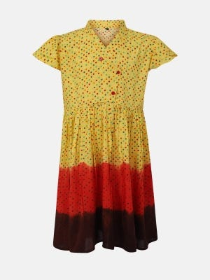 Yellow Printed and Tie-Dyed Linen Frock