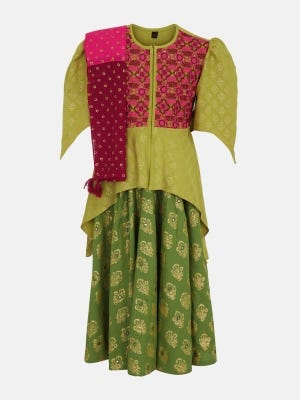 Light Olive Green Printed and Embroidered Linen Ghagra Choli Set
