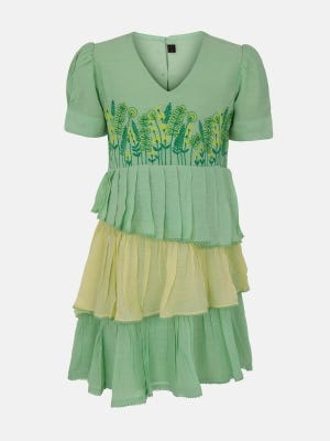 Pastel Green Embroidered Mixed Cotton Frock