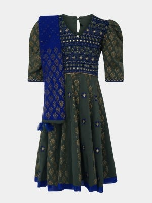 Olive Green Printed and Embroidered Linen Long Gown