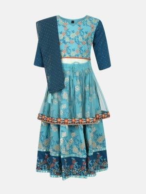 Turquoise Printed and Embroidered Ghagra Choli