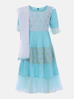 Light Aqua Printed and Embroidered Linen Gown
