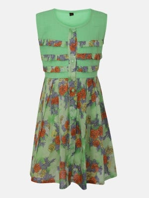 Lime Green Printed Mixed Cotton Frock