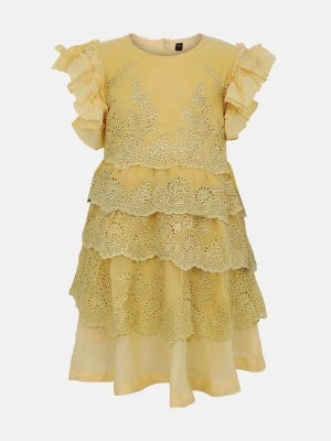 Yellow Embroidered Mixed Cotton Dressy Frock