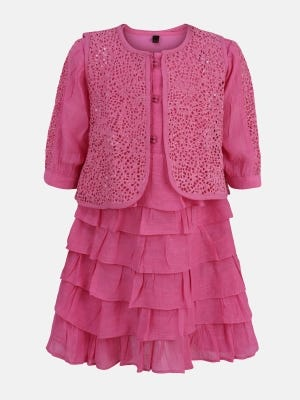 Pink Embroidered Mixed Cotton Dressy Frock