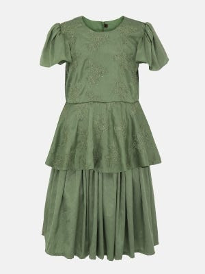 Olive Green Embroidered Mixed Cotton Dressy Frock