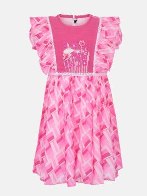 Pink Printed and Embroidered Cotton Frock