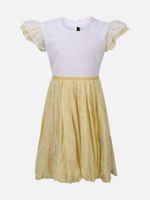 Yellow Embroidered Linen-Georgette Frock