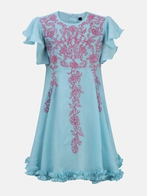 Aqua Embroidered Mixed Cotton Dressy Frock