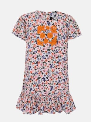 White Printed and Embroidered Mixed Cotton Frock