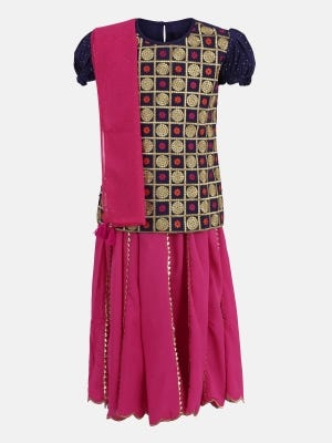 Blue Printed and Embroidered Linen Ghagra Choli Set