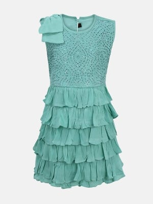 Turquoise Embroidered Mixed Cotton Frock