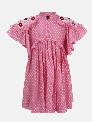 Pink Printed and Embroidered Mixed Cotton Frock