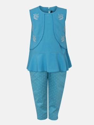 Sky Blue Printed and Embroidered Linen Pant Top Set