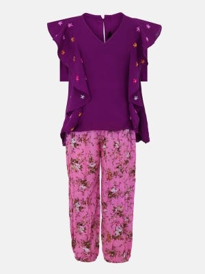 Purple Embroidered Linen Pant Top Set