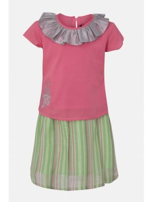 Punch Pink Embroidered Linen Skirt Top Set