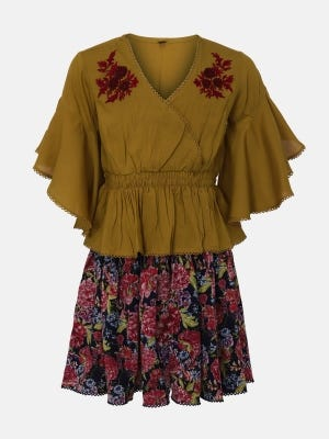 Goldenrod Printed and Embroidered Linen Skirt Top Set