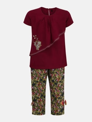 Burgundy Printed and Embroidered Linen Pant Top Set