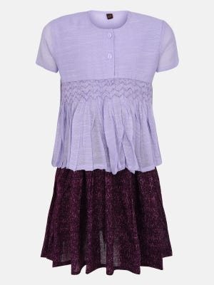Lavender Printed and Embroidered Mixed Cotton Skirt Top Set