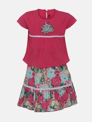 Pink Printed and Embroidered Linen Skirt Top