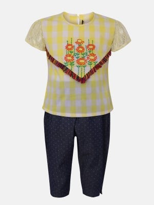 Yellow Printed and Embroidered Cotton Pant Top Set