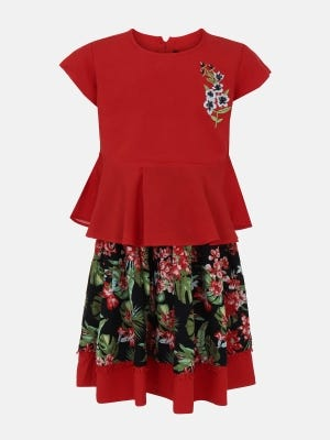 Red Printed and Embroidered Linen Skirt Top Set