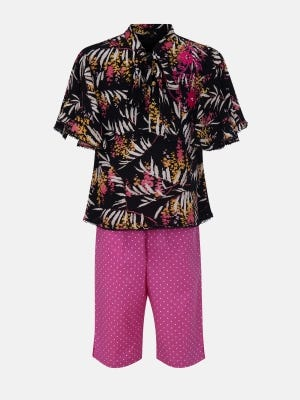 Black Printed and Embroidered Mixed Cotton Pant Top Set