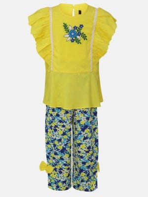 Yellow Embroidered Linen Pant Top Set